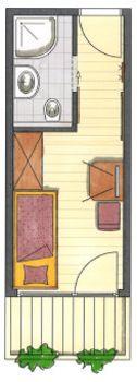 Das ist der Grundriss vom Einzelzimmer Spieljoch im Hotel Pachmair.