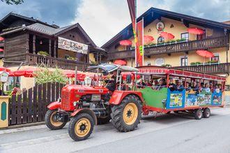 Wöchentlich bieten wir unseren Gästen eine Oldtimer-Traktorrundfahrt durch die Ferienregion.