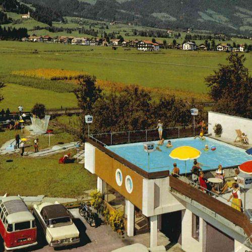 1963 - 1964 Postkartenmotiv: Das Schwimmbad des Gasthofs Pachmair