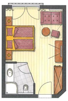 Das ist der Grundriss vom Familienzimmer Olperer im Hotel Pachmair.