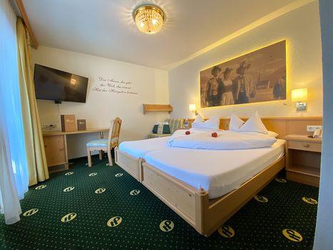 Die komfortablen Doppelzimmer Spieljoch sorgen für einen gemütlichen Aufenthalt im Hotel Pachmair.