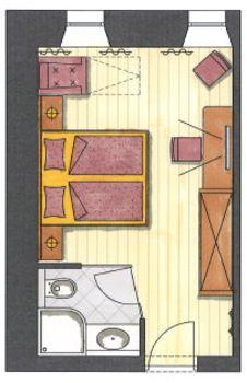 Das ist der Grundriss vom Doppelzimmer Hochfeiler im Hotel Pachmair.