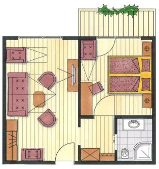 Das ist der Grundriss vom Appartement Hochfügen im Hotel Pachmair.
