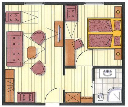 Das ist der Grundriss vom Appartement Arzjoch im Hotel Pachmair.