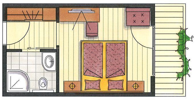 Das ist der Grundriss vom Doppelzimmer Spieljoch im Hotel Pachmair.