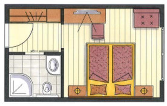 Das ist der Grundriss vom Doppelzimmer Hamberg im Hotel Pachmair.